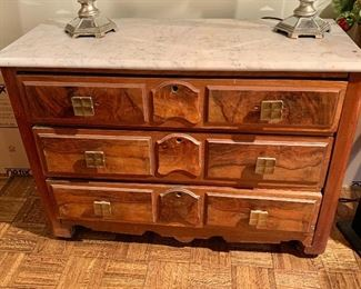 "$250 - Vintage Three Drawer Dresser with Marble Top and Square Metal Drawer Pulls; as is, bottom drawer sticks, 30"" H x 17.5"" D x 41.5"" W"