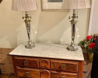 "$150 - Pair of Lamps with Mirrored Panel Bases, tested and working. Each is 35"" tall, with a 15"" diameter pleated shade and two lights with chain pulls -- both work, one lamp has one slightly loose socket"