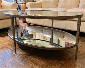 "$395 - Crate & Barrel  - Clairemont Oval  Art Deco Coffee Table; 19.5"" H x 48"" W x 30.5"" D  (Retail $699 plus shipping)"