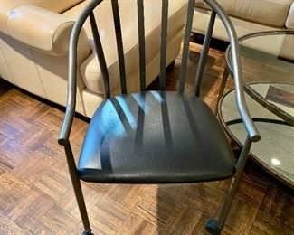 "$60 - Amisco Industries Metal Frame Rolling Armchair on Plastic Caster Wheels, 33"" H x 18"" D x 21"" W, seat height is 18"""