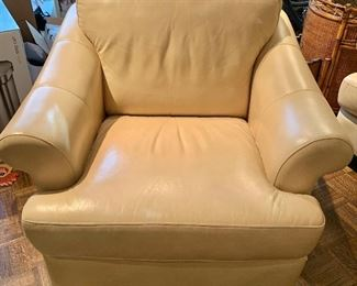 "$450 - Cream Colored Leather Easy Chair; 30"" H x 39"" D x 40.5"" W"