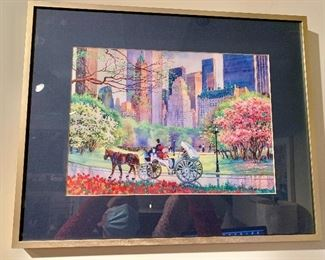 "$40 - Central Park Carriage Print, color offset litho print in frame, 16.5"" H x 20"" W"