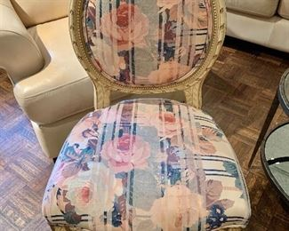 "$145 - Rose Upholstered Vintage Side Chair, 37"" H x 21.5"" D x 19"" W, seat height is 19"""