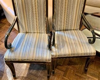 "$350 - Pair of  Regency style Vintage Black and Gold Frame Upholstered Armchairs; 42.5"" H x 25"" D x 21"" W, seat height is 18"""