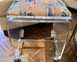 "$140 - Lucite Vanity Stool on Wheels with Cushion Swivel Seat; 22"" H x 16"" D x 17"" W"