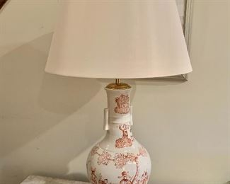 "$495 - Pair of Ceramic Vase Lamps, tested and working. Each is 39"" H with a 10"" diameter base and 20"" diameter shade"
