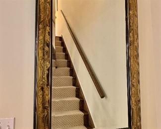 """Beveled Mirror with Black and Contemporary Abstract Metallic Textured Frame; 51"""" H x 32"""" W"""