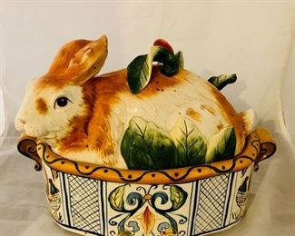 "$125 - Fitz & Floyd Handpainted Rabbit Soup Tureen with Ladle, 9.5"" H x 8"" D x 13"" W"