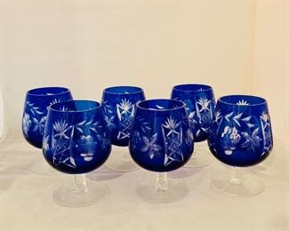 "$100 - Six Blue Cut to Clear Crystal Glasses, 4.75"" H x 3"" W,  5 in excellent condition and one with a tiny chip"