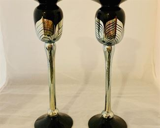 "$80 - Pair of Black and Silver Blown Glass Candlesticks, 10.5"" H x 3"" diameter"