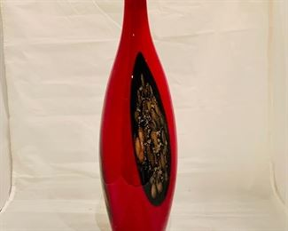 "$75 - Favrile by Dale Tiffany Red and Metallic  Art Glass Vase, 16"" H x 5"" diameter"