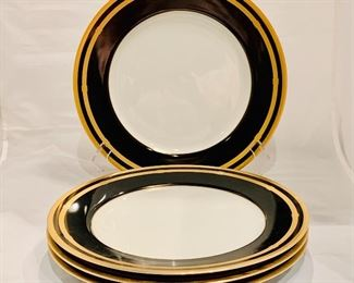 "$160 - Four Christian Dior Gaudron Onyx and Gold Dinner Plates, 11"" diameter, good condition"