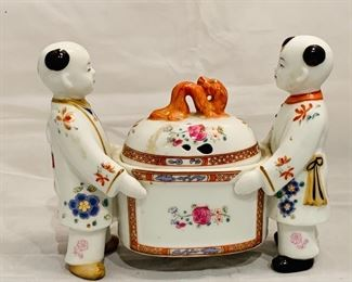 "$60 - Neiman Marcus Porcelain Box with Lid; 6"" H x 3"" D x 7"" W, has a well-repaired crack"
