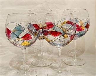 "$40 - Set of Four Wire and Handtinted Red Wine Glasses, each is 9"" H x 4"" diameter"