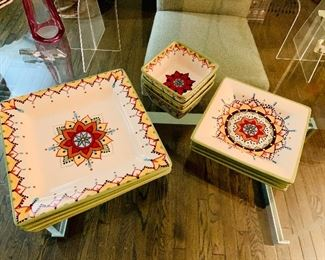 "$60 LOT; Vida Eva Mendes for Espana Catalina Hand painted dinnerware.  Dishwasher & Microwave Safe; 4 Dinner Plates approx 11"" square;  4 Salad Plates approx 8"" square; 3 Bowls approx 5""square; 11 pieces total"