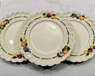 "$250; 5 vintage Gucci dinner plates, 1 vintage Gucci salad plate; dinner plates approx 12"" diameter; some crazing on each"