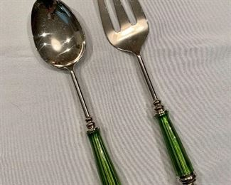"$45; Pair green enameled handled salad server set; Fork and Spoon each approx 12"" H."