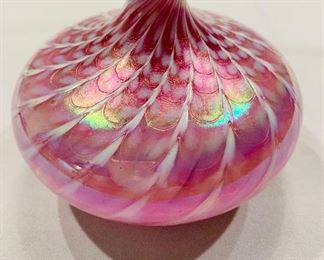 "$40; Signed murano glass bud vase; 4""H by 5"" W;"