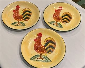 "$30; Set of 3 ceramic rooster plates; Style-Eyes by Baum Bros; Approx 10.5"" diameter"