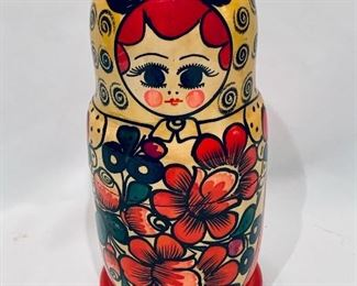 "$30; Wooden Nesting Dolls; approx 9"" high"
