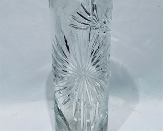 "$40; Vintage signed cut crystal cylindrical vase; Approx 10"" high x 3"" diameter"
