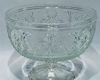 "$15; Vintage pressed glass compote; approx 6.5"" D x 5.5""H"