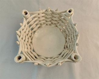 "$24; White woven ceramic basket; Made in Spain;  approx 4"" H x 8""D"