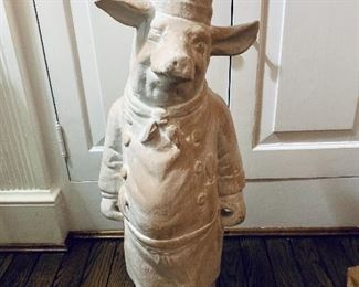 "$250; Chef Pig plaster cast statue; approx 26"" H x 9"" base; weight approx 10lbs"