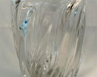 "$30; Lead crystal vase; Approx 8"" H x 5.5"" D"