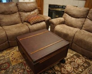 Reclining loveseat, couch, large area rug, coffee table