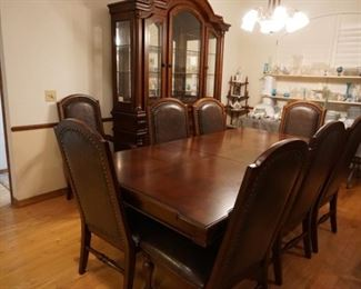 Formal dining table with 8 chairs, china cabinet
