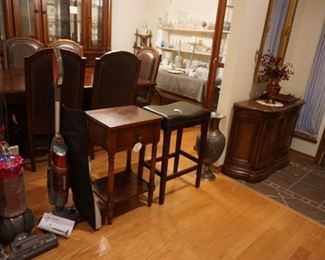 Dyson and other vacuum, bar stool, small table, entry table, mirror, large vase