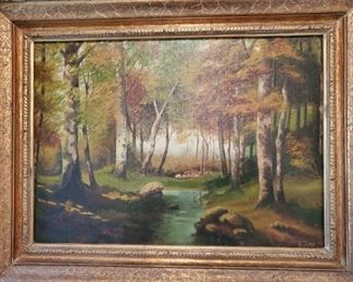 ANTIQUE OIL on CANVAS signed R. BOYD