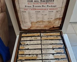 ANTIQUE CASE of FAMOUS BRAND SEWING NEEDLES FOR ALL MACHINES