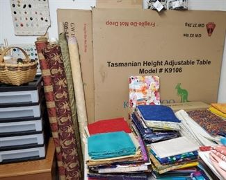 TASMANIAN SEWING TABLE (NEW UNOPENED SET IN 3 BOXES)  COSTS  $1599 NEW...MORE FABRICS