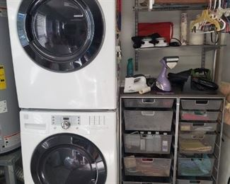 KENMORE WASHER/DRYER FRONTLOAD STACK UNIT, WIRE BASKET UTILITY TABLES
