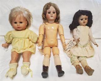 """Italian Lizzi Doll, Cuno Otto & Dressel antique 23"""" German Doll, Early 1900 Schoenau Hoffmeister Doll"""