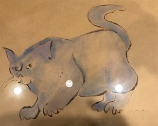 Annabelle Meacham vintage cat painting using watercolors and eye shadow pigments. Appraisal is $1000