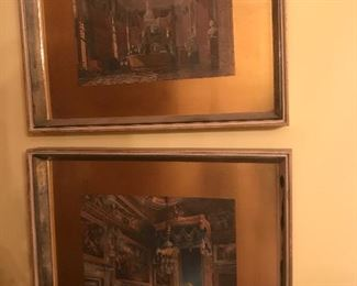 Fabulous MCM hand tinted engravings in gold leaf and mirror frames Four available