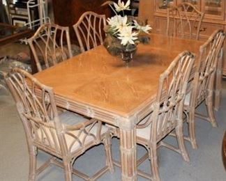 Amazing Stanley MCM cane Chippendale dining table with two leaves and 6 chairs. Custom table pads included! Valued at $1800