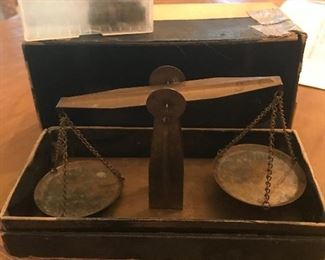 Late 1890's gold measure scales with all the weights