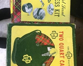 Highly collectible Girl Scout camping accessories.  Unused in box.  Vintage Girl Scout uniforms!!!!
