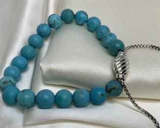 DAVID YURMAN Spiritual Beads Bracelet in 925 and Turquoise  Appraisal is $495