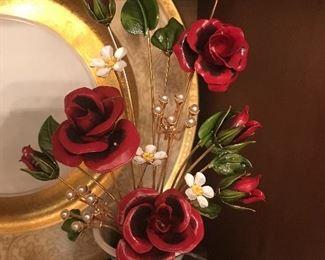 Vintage collectible series Faberge gilt enamel flowers