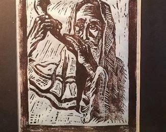 Block print  Yemenite Jew blowing the shofar, late 1970s