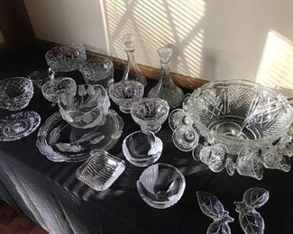 Heavy crystal serving pieces in all sizes.
