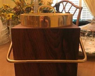 Danish modern Italian walnut and brass ice bucket with glass liner