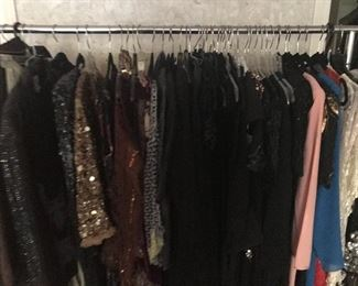 Vintage evening dresses and sequined jackets