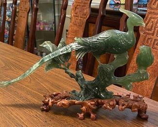 Spinach Jade Peacock in hand carved wooden base...circa 1890-1910
