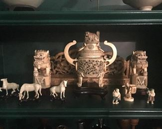 Museum quality collection of antique ivory Asian collectibles.  1890 to 1910.  Pre-1970 purchase.